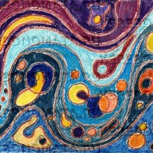 идеи создают сознание, резонансная графика, пастель